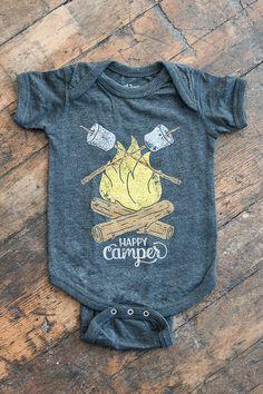 Happy Camper Vintage Black Baby Onesie. Unisex Grey Black Baby Jumper with campfire and marshmallows. Celebrates Wilderness.