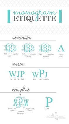 Monogram Etiquette - Who knew? Embroidery Monogram, Embroidery Fonts, Embroidery Applique, Machine Embroidery, Embroidery Designs, Mens Monogram, Monogram Styles, Monogram Fonts, How To Monogram