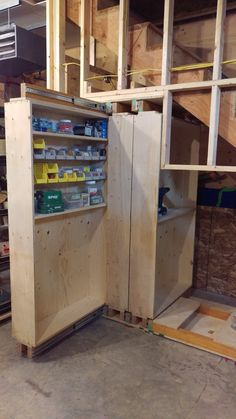 Under the stairs roll out storage shelves can find Storage and more on our website.Under the stairs roll out storage shelves Garage Storage Shelves, Slide Out Shelves, Diy Kitchen Storage, Cupboard Storage, Craft Storage, Storage Stairs, Storage Ideas, Storage Racks, Garage Organization