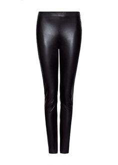 MANGO - Leather skinny trousers