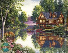 "Craft: Counted Cross Stitch Title: Cabin Fever By: The Gold Collection of Dimensions, Inc. Size: 16"" x 12"" (41 x 30 cm)"