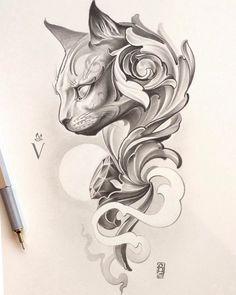 """Mi piace"": 138, commenti: 1 - Art • Sketches • Illustrations (@artskillus.collection) su Instagram: ""Cat tattoo design by Maks Parmezhov. #art #cat #tattoodesign #tattoo #sketch #artwork #drawing #кот…"""