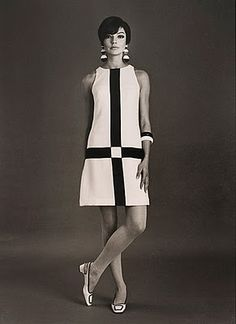 Courreges - the Mondrian of fashion - a big hit in the 70's with the white boots, of course. No wonder why I like clean, graphic lines.