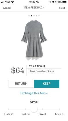 Shannon: love that it's a sweater dress and love the sleeves!