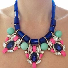 Blue Statement Necklace Talk about making a statement! This necklace is a STUNNER The necklace features rhinestone encrusted accents, tiered faceted faux stones and adjustable spring ring clasp closure. Guaranteed to inspire second, third or even fourth glances. Excellent condition. Jewelry Necklaces
