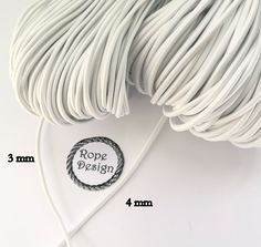 Round elastic cord, 3 mm and 4 mm, Black/White Elastic drawcord, Sewing supplies, Elastic rubber, Round stretch cord, DIY face mask