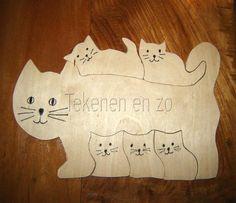 Tekenen en zo: figuurzagen - katten - puzzel