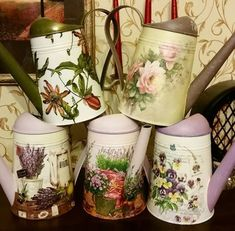 Do It Yourself Projects, Projects To Try, Diy And Crafts, Arts And Crafts, Decoupage Box, Flower Pots, Flowers, Milk Cans, Handicraft
