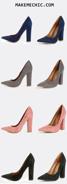 """Turn up your look with the Suede Chunky Heel Pumps! Features a faux suede upper and a pointy toe.Finished with a 4.5"""" chunky heel.Wear with palazzo pants and a crop top!"""