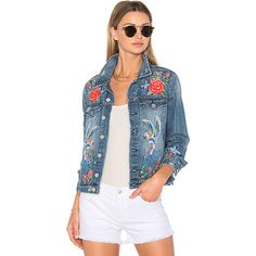 BLANKNYC Embroidered Denim Jacket (€140) ❤ liked on Polyvore featuring outerwear, jackets, coats & jackets, blanknyc jacket, blanknyc, blue jean jacket, embroidery jackets and jean jacket