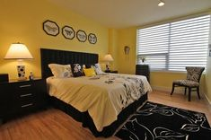 Modern Black And Yellow Bedroom 20 Sophisticated Home Design Lover Dena Brody Accessory Decor Wall Cream Aqua Bug In Bedroom Wall, Bedroom Decor, Master Bedroom, Bedroom Curtains, Master Bath, Bedroom Ideas, Home Interior, Interior Design, Black Bedroom Furniture