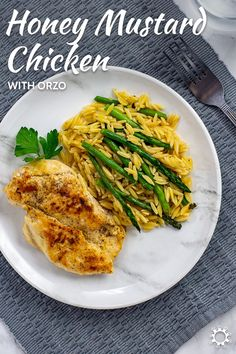Orzo and asparagus make a perfect bed of pasta to put honey mustard chicken on top of for an easy and filling dinner. #honeymustard #chicken #dinner Yummy Chicken Recipes, Yum Yum Chicken, Pasta Recipes, Lunch Recipes, Easy Dinner Recipes, Easy Meals, Honey Mustard Chicken, Pot Pies, Orzo