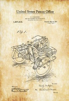 A patent print poster of a Side Car Attachment for Motor Cycles invented by C. J. Gustafson. The patent was issued by the United States Patent Office on May 21, 1918. Patent prints allow you to have a piece of history in your Home, Office, Man Cave, Geek Den or anywhere you wish to ... | Cars, Trains, Bikes, Sea