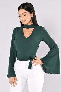 c29d76de85375 Available in Teal - Woven Top - Bell Sleeves - Waist Back Tie - Key · Fashion  Nova ...