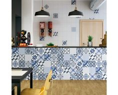 Are you a fan of patterned decor tiles like us? We love this counter with its charming blue and white tiles so much we have to share it across all our social media channels. Meanwhile TGIF everyone! Tile is Moving Blue. by hafary Blue Tiles, White Tiles, Kitchen Tiles, Kitchen Design, Moving Walls, Patchwork Tiles, Interior Decorating, Interior Design, Tile Design