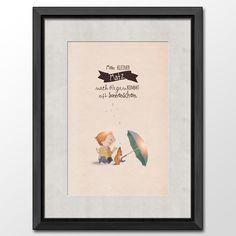#after rain the sun is coming #boy #cute #illustrations: unique copy with the name of a boy, shop it at DaWanda:(http://de.dawanda.com/product/64140579-Druck-Nach-dem-Regen-Jungs)