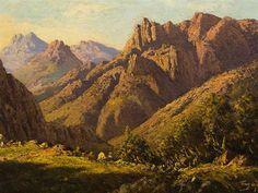 Artwork by Tinus de Jongh, Mountain Gorge Landscape, Made of Oil Landscape Art, Landscape Paintings, Landscapes, South African Artists, Gabriel, Monument Valley, Mountain, Inspirational, Oil