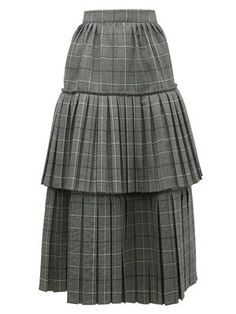 Prince of Wales-check pleated tiered wool skirt Prince Of Wales, Wool Skirts, Friends In Love, Tweed, Shirt Dress, Collection, Check, Style, Princesses
