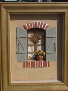 The idea for this meticulously handcrafted 1/12th scale vignette came from a visit to Provence in southern France; the homes in some of these small villages and towns are very quaint and quite unique. I have created this detailed facade to be reminiscent of these types of homes. The facade is an aged beige 'Stucco' color with real brick accents. It has green wooden shutters - typical coloring for this area of France. Flowers are found everywhere in France, and the habitants of the small…