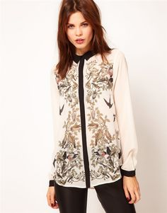 b988beebe835af Aliexpress.com : Buy New Fashion 2013 Autumn Blouse for Women Bird Print  Personality Design
