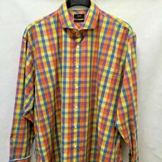 Great sz modern fit shirt from Steven Land. It features a colorful check madras cotton and long sleeves with french cuffs. Long Sleeves with French Cuffs. Mens Plus Size Fashion, Best Mens Fashion, French Cuff, Workout Shirts, Men Casual, Plaid, Colorful, Long Sleeve, Check