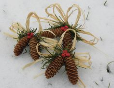 Handmade Natural Pinecone Christmas Ornaments.