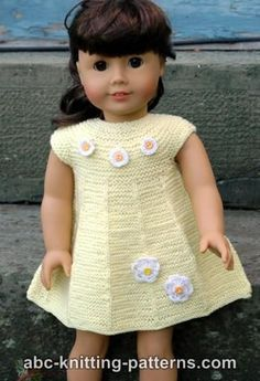 American Girl Doll Garter Stitch Summer Dress so simple.