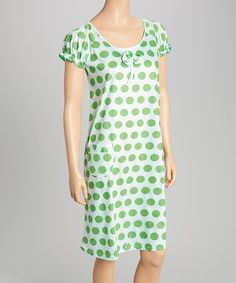 This Green & White Polka Dot Nightgown - Women is perfect! #zulilyfinds