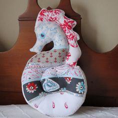 SEAHORSE PILLOW | Seahorse Pillow. Mulri Fabric and Colors. Nautical Decor for Coastal ...