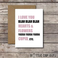 I Love You Blah Funny Valentines Day Card Printable Anniversary Sarcastic Greeting Cards For Her Him JPG Download