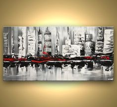 Modern 48 x 24 ORIGINAL City Acrylic Painting by OsnatFineArt, $600.00