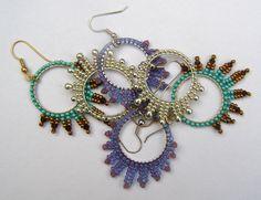 simple earrings in brick stich and herringbone stitch