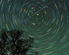 star trails and a meteor over Georgia in 1985