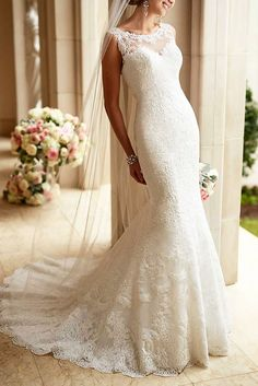 Really feeling the sexy low illusion lace on this Stella York wedding dress design