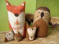 Fox & owl felt