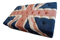 Halo Union Jack tufted ottoman with British flag with denim fabric. Would give any room some personality and attitude.
