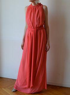 Coral pink elegant long maxi dress Special occasion by MuguetMilan