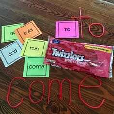 Pull and Peel Twizzlers make the perfect manipulative for forming letters to create sight words. Fun and yummy too! Kids will love this activity, and it's super easy to set up.