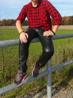 "alwaysleather: ""#leatherpants #leather #nike """