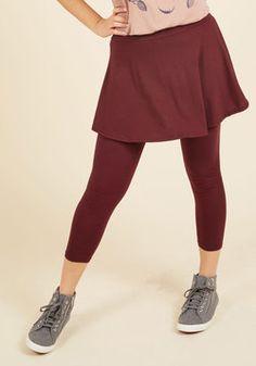 Skirt With the Idea Leggings in Burgundy