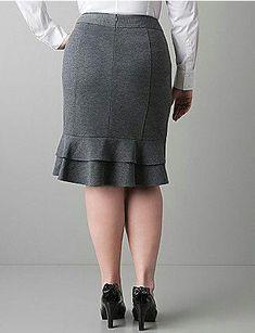Ponte knit ruffle back skirt by Lane Bryant Grey Fashion, Fashion Outfits, Womens Fashion, Fashion News, Fashion Fashion, Skirt Outfits, Dress Skirt, Fitted Skirt, Ruffle Skirt