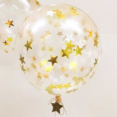 "Gold balloons (8), Gold star confetti balloons, Meri Meri 18"" confetti balloon, Christmas, Hanukkah, New Years Eve Birthday party decor"