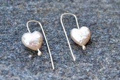 Excited to share the latest addition to my #etsy shop: White Pearl Heart Shaped Earrings in Sterling Silver, Freshwater Pearl, Bestfriend Gift, Pearl Hook, Dangle, Asymmetrical or Symmetrical http://etsy.me/2jg7W3r