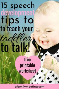 Language development for toddlers starts at home. You can be intentional to teach your toddler to talk by working on language development activities and language development tips everyday in everything you do with your smart toddler. These 15 speech tips and toddler talk ideas will help you make big language advancements with your toddler! #toddlerspeech #toddlerspeechdevelopment #toddlertalk #speechdevelopment #speechtherapy