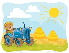 Buy Vector Illustration of a Teddy Bear Tractor Driver by vectorpocket on GraphicRiver. Vector illustration teddy bears tractor driver working on the field. Color Vector, Vector Design, Farm Cartoon, Farm Vector, Construction Business Cards, Cartoon Background, Red Barns, Farm Yard, Cute Art