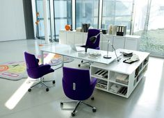 Office Workspace. Multifunction Of Glass Top Table Office With Racks And Swivel Chairs Combiner With Colorful Rug