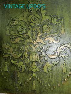 Antique Verde and black Revax, stencil embossing with Shabby Paints Texture
