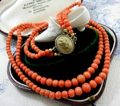 Antique Victorian Coral Necklace Beads Italian by KittysJewelryBox, $998.00