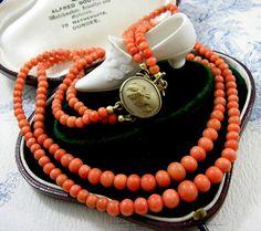 Antique Victorian Coral Necklace