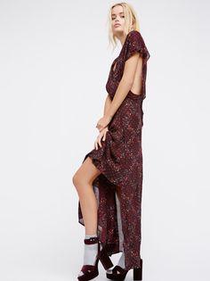 Frida Aasen || FP Livia Semi-Sheer Floral Print Maxi Dress (Purple Combo)